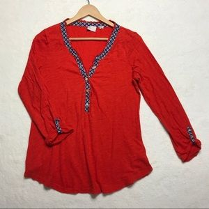 Anthropologie Postmark Top Red Buttons Henley M
